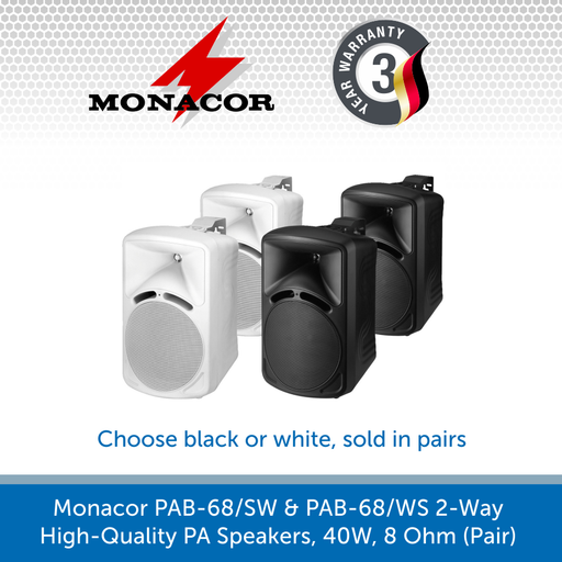 Monacor PAB-58/SW & PAB-58/WS 2-Way High-Quality PA Speakers, 30W, 8 Ohm (Pair)