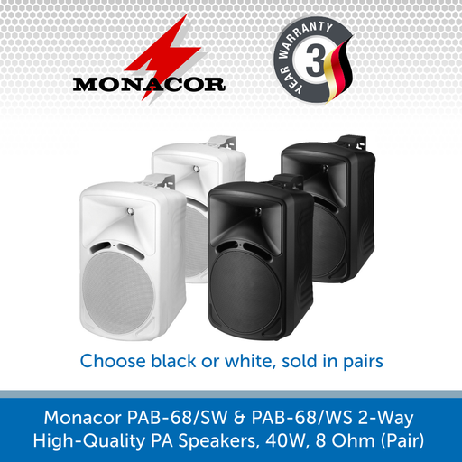 Monacor PAB-68/SW & PAB-68/WS 2-Way High-Quality PA Speakers, 40W, 8 Ohm (Pair)