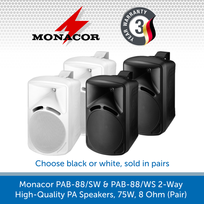 Monacor PAB-88/SW & PAB-88/WS 2-Way High-Quality PA Speakers, 75W, 8 Ohm (Pair)