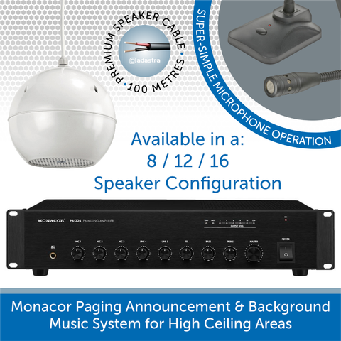 Monacor Paging Announcement & Background Music System for High Ceiling Areas, 100V Line