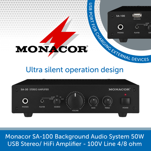 Monacor SA-100 Background Audio System 50W USB Stereo/ HiFi Amplifier - 100V Line 4/8 ohm