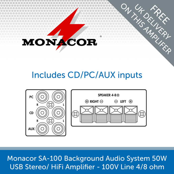 The layout for a Monacor SA-100 Background Audio System Amplifier