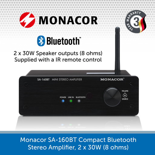 Monacor SA-160BT Compact Bluetooth Stereo Amplifier, 2 x 30W (8 ohms)