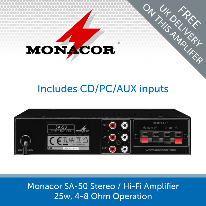 Show the back of a Monacor SA-50 Stereo / Hi-Fi Amplifier - 25W