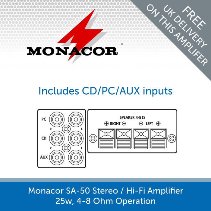 Diagram for a Monacor SA-50 Stereo / Hi-Fi Amplifier - 25W