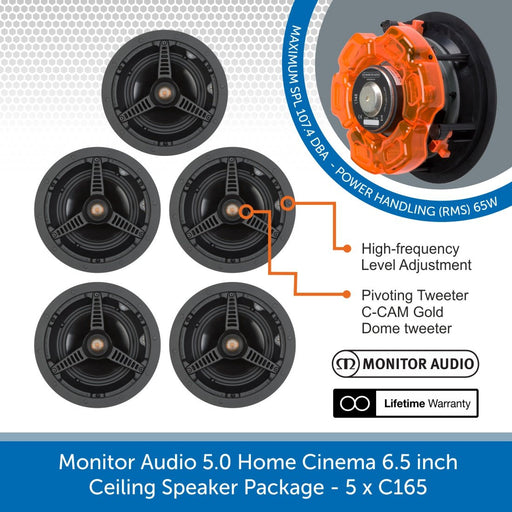 Monitor Audio 5.0 Home Cinema 6.5 inch Ceiling Speaker Package