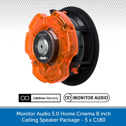 Monitor Audio 5.0 Home Cinema 8 inch Ceiling Speaker Package - 5 x C180