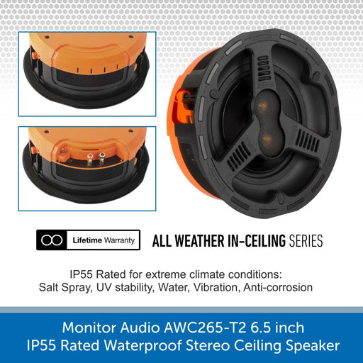 Monitor Audio AWC265-T2 6.5 inch High-Performance IP55 Rated Waterproof Stereo Ceiling Speaker (Single)