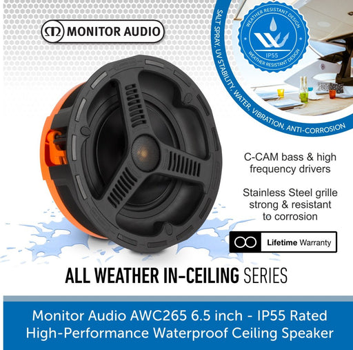 Monitor Audio AWC265 High-Performance IP55 Rated Waterproof Ceiling Speaker 1