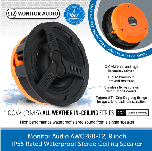 Monitor Audio AWC280-T2 8 inch High-Performance IP55 Rated Waterproof Stereo Ceiling Speaker (Single)