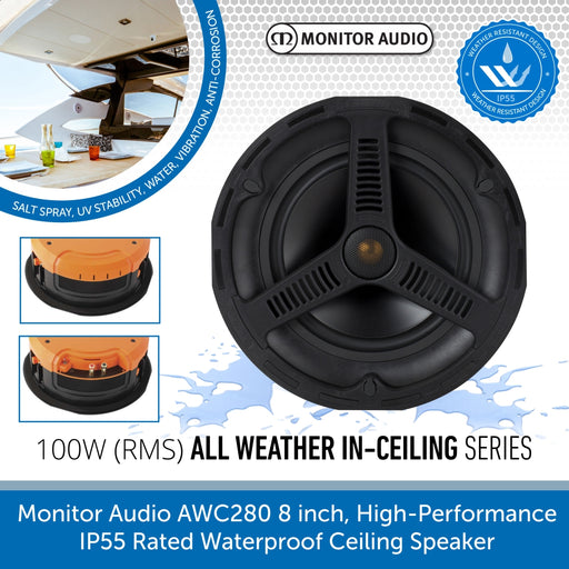 Monitor Audio AWC280 8 inch High Performance IP55 Rated Waterproof Ceiling Speaker