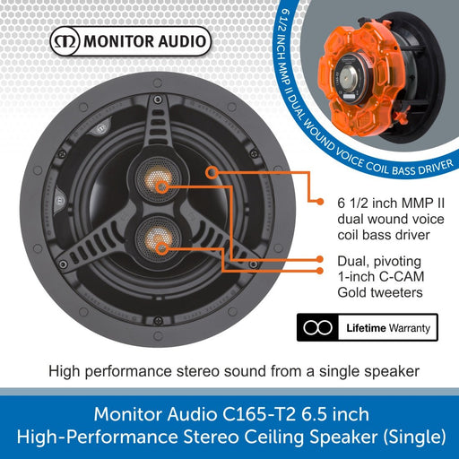 Monitor Audio C165-T2 6.5 inch High-Performance Stereo Ceiling Speaker