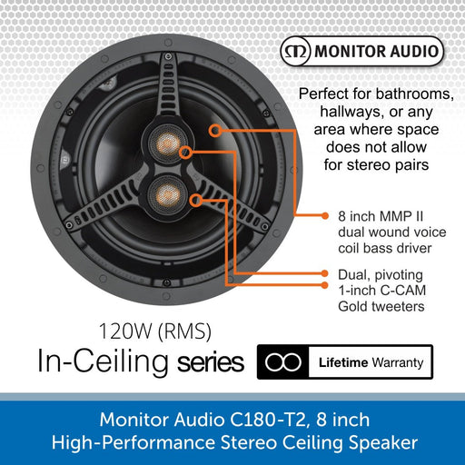 Monitor Audio C180-T2 8 inch High-Performance Stereo Ceiling Speaker