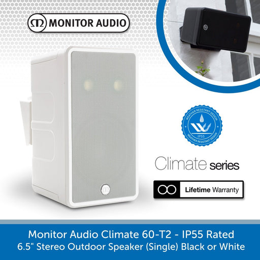"Monitor Audio Climate 60-T2 - IP55 Rated 6.5"" Stereo Outdoor Speaker"