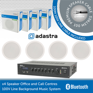 "Adastra 4 Speaker Background Music System for Offices and Call Centres - White Ceiling Speakers (6.5"")"