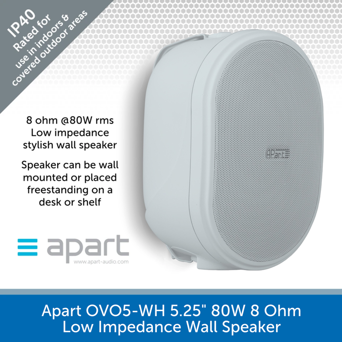 "Apart OVO5 (Single) 5.25"" 8 Ohm Oval Wall Speaker + Bracket - Black or White"