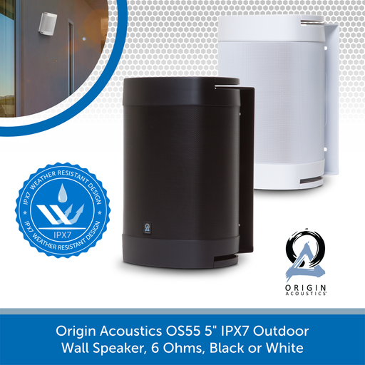 "Origin Acoustics OS55 5"" IPX7 Outdoor Wall Speaker, 6 Ohms, Black or White"