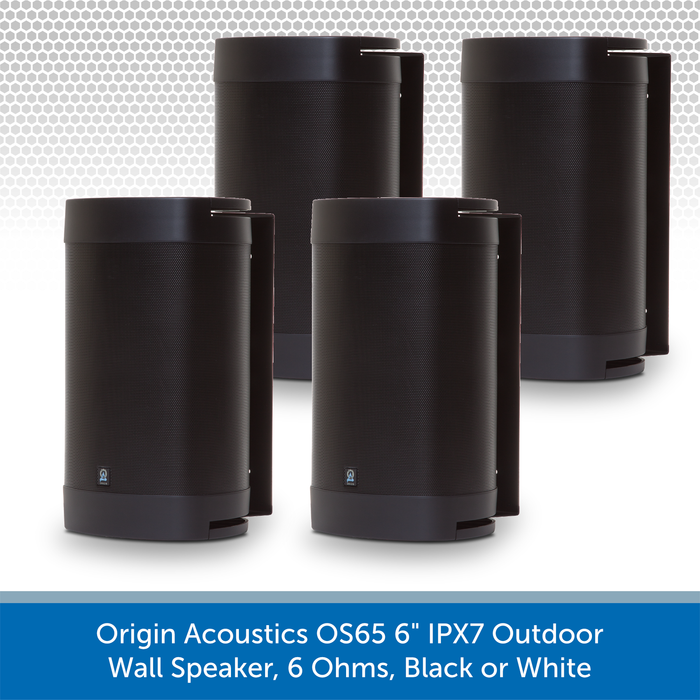 "Origin Acoustics OS65 6"" IPX7 Outdoor Wall Speaker, 6 Ohms, Black or White"