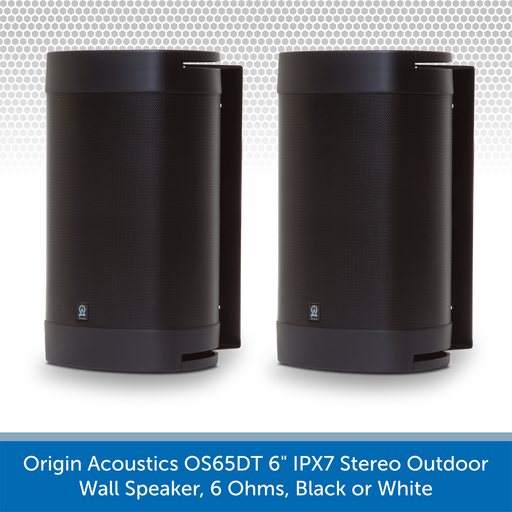 "Origin Acoustics OS65DT 6"" IPX7 Stereo Outdoor Wall Speaker, 6 Ohms, Black or White"