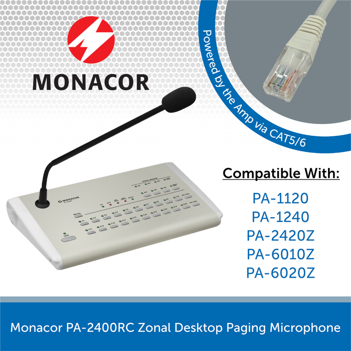 Monacor PA-2400RC Zonal Desktop Paging Microphone