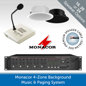 Monacor 4-Zone Paging Announcement & Background Music System (480W)