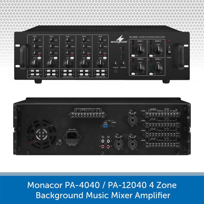 Monacor 4-Zone Background Music System with Volume Control & Source Selection - 8, 10 or 12 Ceiling Speakers