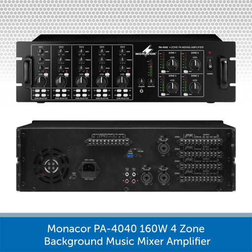 Monacor PA-4040 4-Zone 160W Mixer Amplifier - 100V Line and 4/8 ohm
