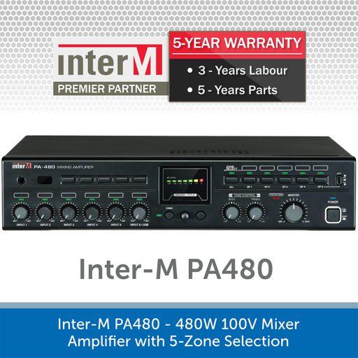 Inter-M PA480 - 480W 100V Mixer Amplifier with 5-Zone Selection
