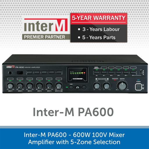 Inter-M PA600 - 600W 100V Mixer Amplifier with 5-Zone Selection