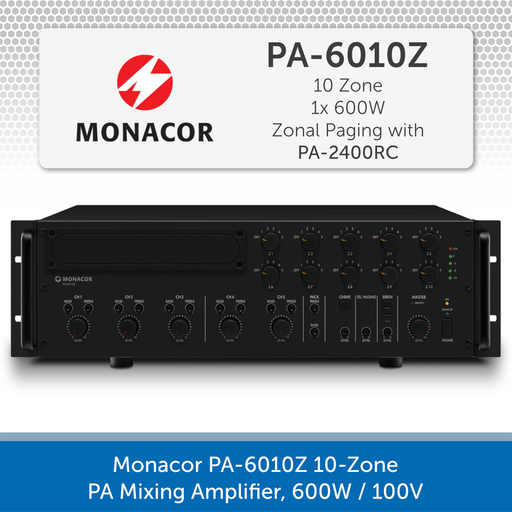 Monacor PA-6010Z 10-Zone PA Mixing Amplifier, 600W / 100V