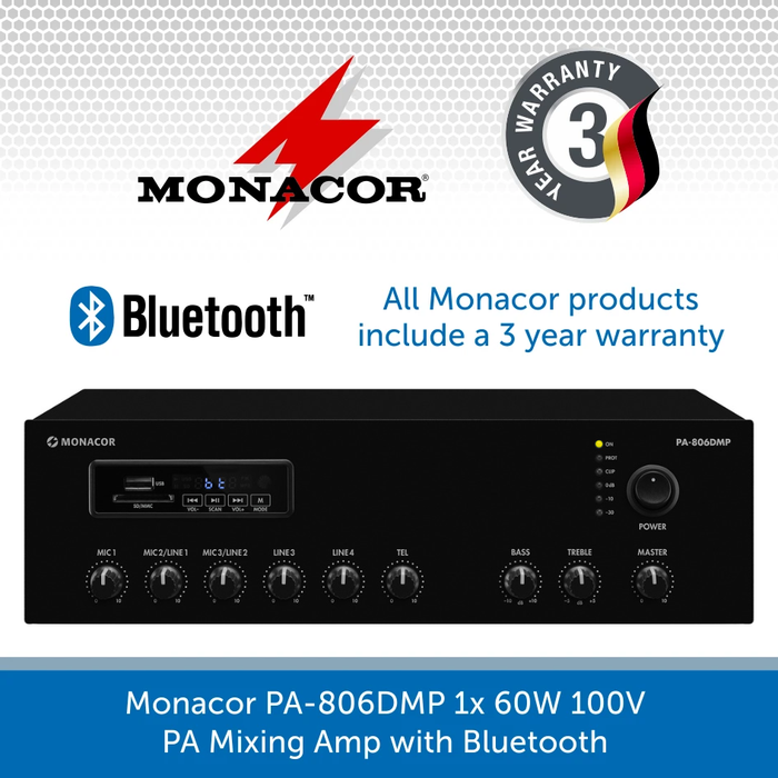 Monacor PA-806DMP 60W Compact Desktop Mixer Amp with Bluetooth/FM/USB