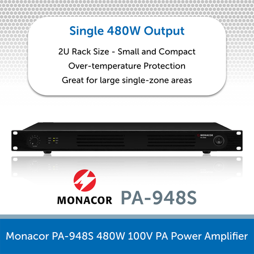 Monacor PA-948S 480W 100V PA Power Amplifier