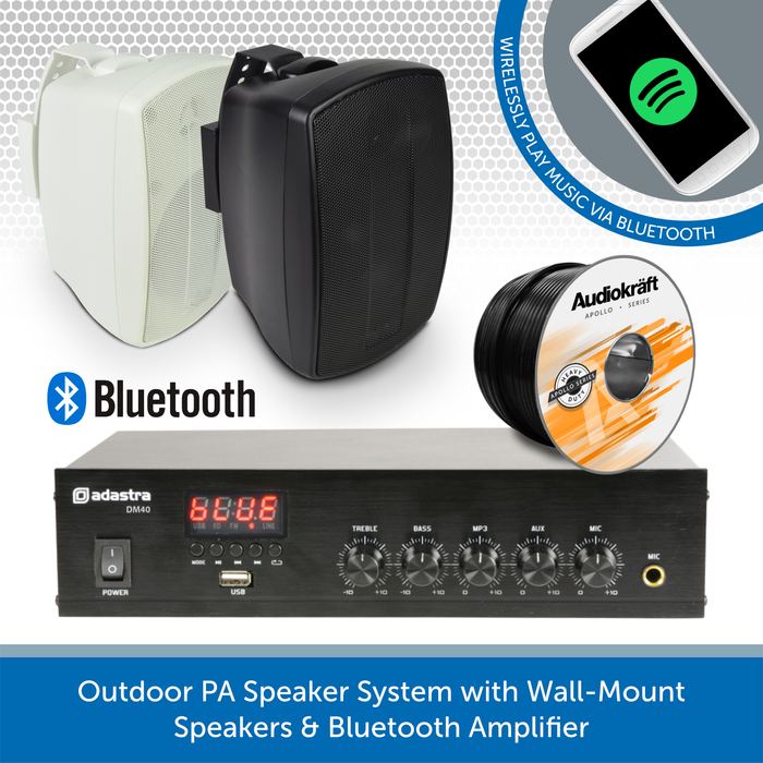 Outdoor PA Speaker System with Wall-Mount Speakers & Bluetooth Amplifier