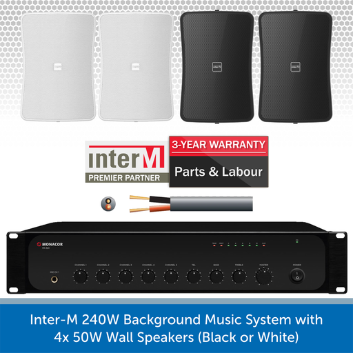 Inter-M 240W Background Music System with 4x 50W Wall Speakers (Black or White)