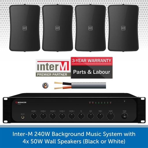 Inter-M 240W Background Music System with 4x 50W Wall Speakers (Black)