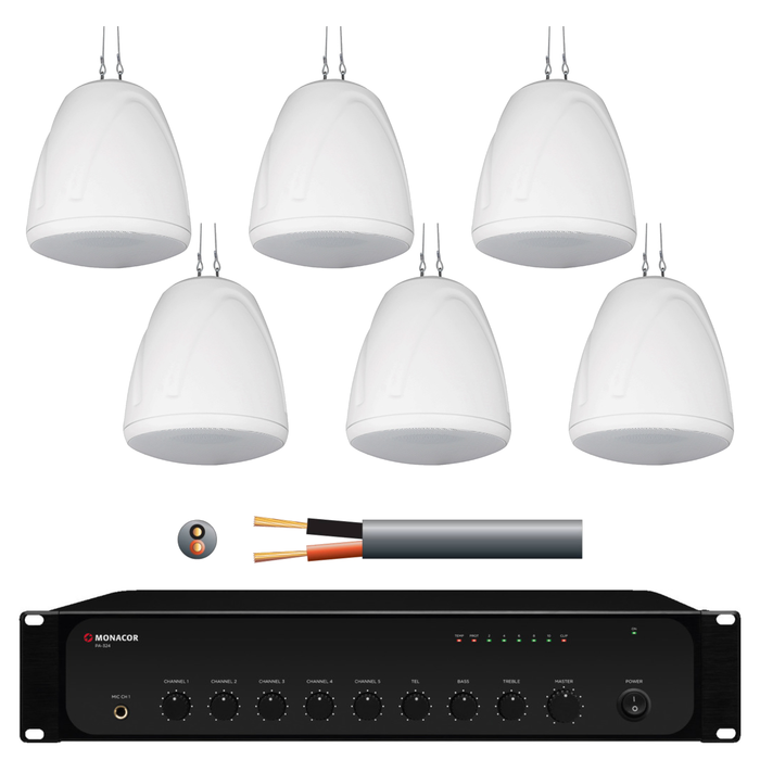 Warehouse Music System with 6x 32W Pendant Speakers in White