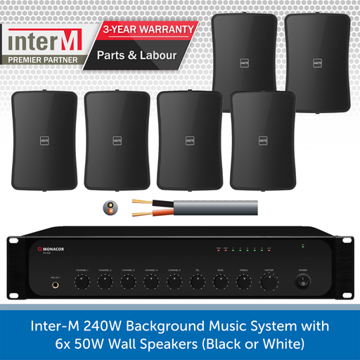 Inter-M 240W Background Music System with 6x 50W Wall Speakers (Black)
