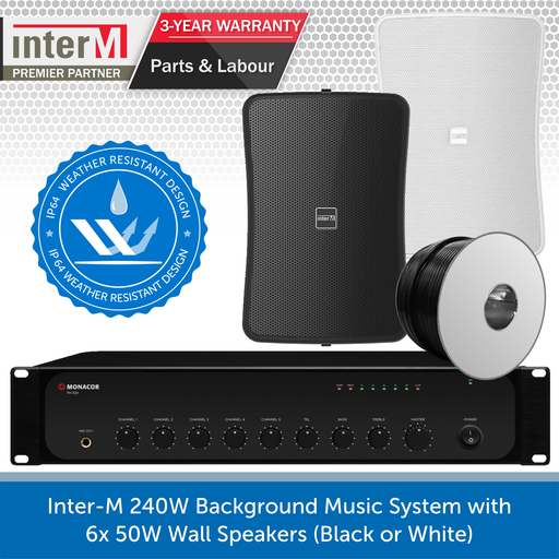 Inter-M 240W Background Music System with 6x 50W Wall Speakers (Black or White)