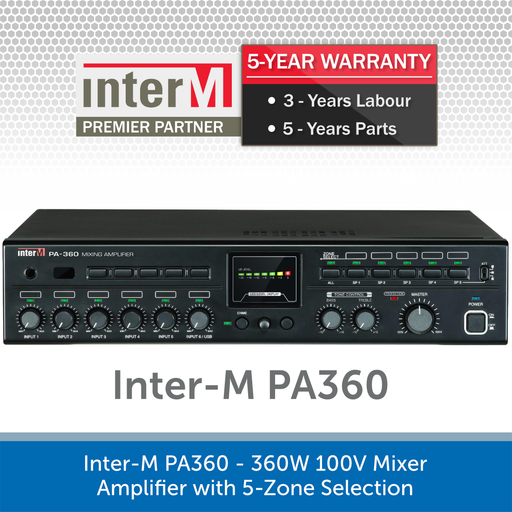 Inter-M PA360 - 360W 100V Mixer Amplifier with 5-Zone Selection