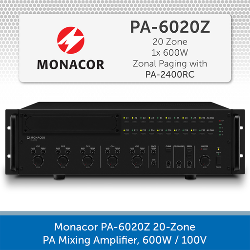 Monacor PA-6020Z 20-Zone PA Mixing Amplifier, 600W / 100V
