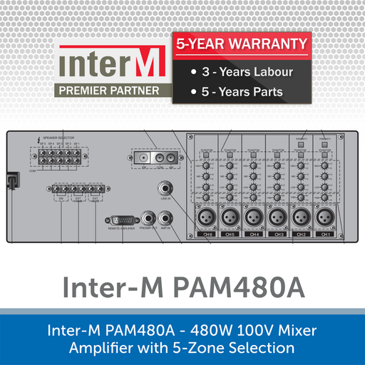 Inter-M PAM480A - 480W 100V Mixer Amplifier with 5-Zone Selection