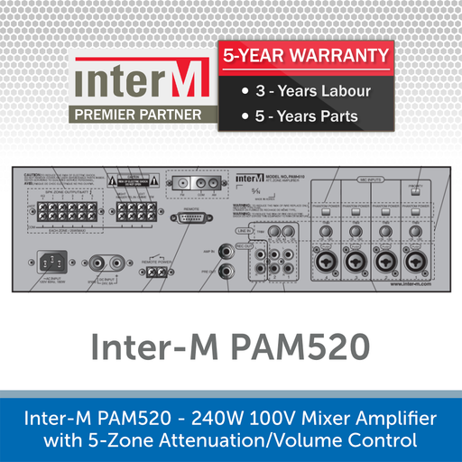 Inter-M PAM520 - 240W 100V Mixer Amplifier with 5-Zone Attenuation/Volume Control