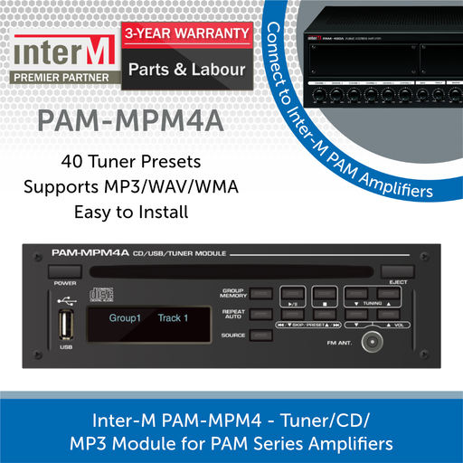 Inter-M PAM-MPM4 - Tuner/CD/MP3 Module for PAM Series Amplifiers