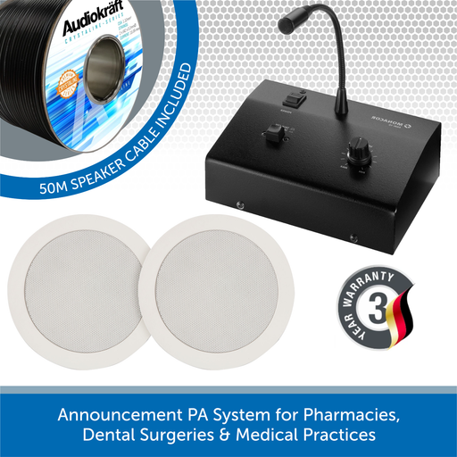 Announcement PA System for Pharmacies, Dental Surgeries & Medical Practices - 2x In-Ceiling Speakers