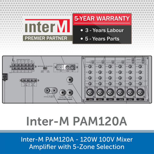 Inter-M PAM120A - 120W 100V Mixer Amplifier with 5-Zone Selection