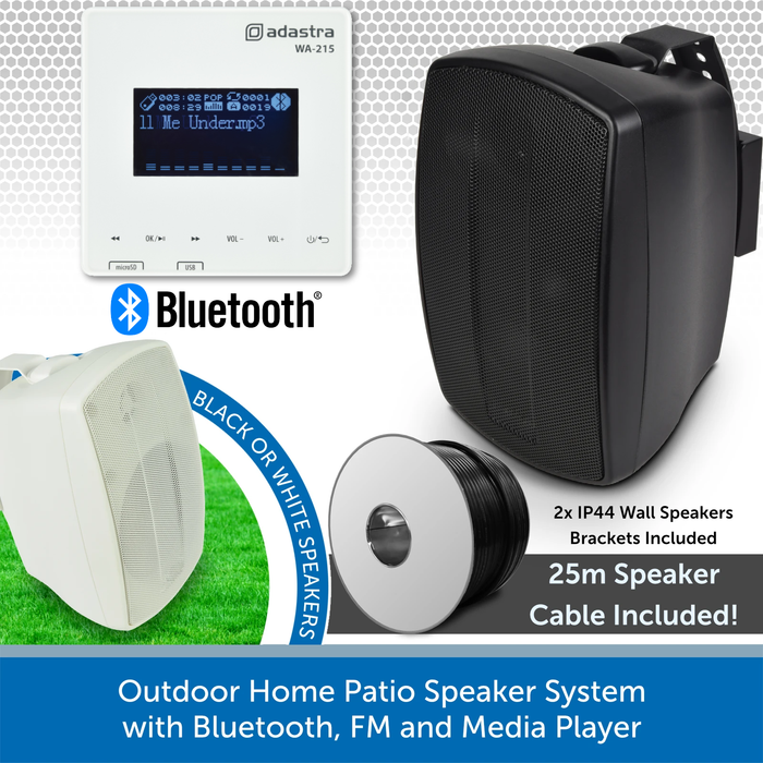 Outdoor Home Patio Speaker System with Bluetooth, FM and Media Player