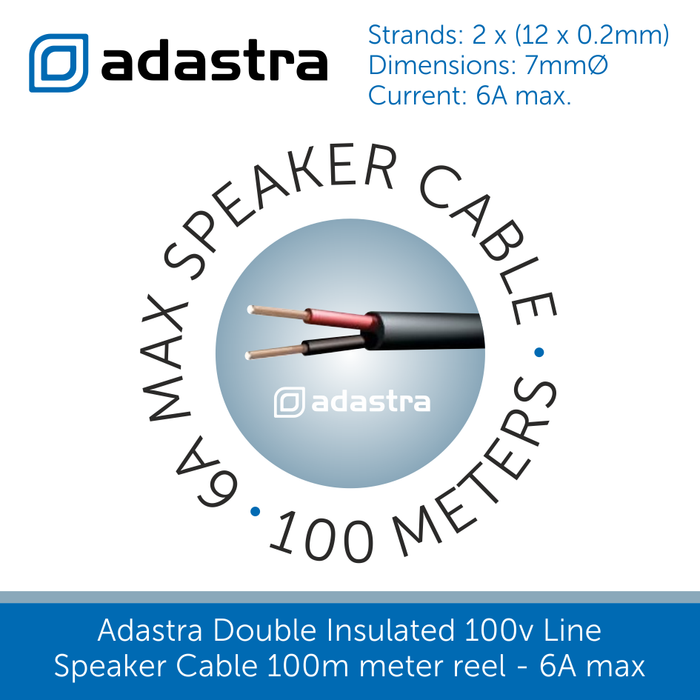 Heavy Duty Double Insualted Speaker Cable - 100m Drum