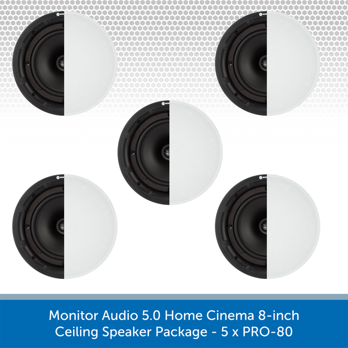 Monitor Audio 5.0 Home Cinema 8-inch Ceiling Speaker Package - 5 x PRO-80
