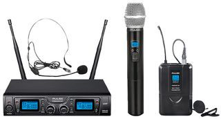 Pulse MP3525215 Dual Wireless Microphone System with Handheld, Headset and Lavalier Microphones