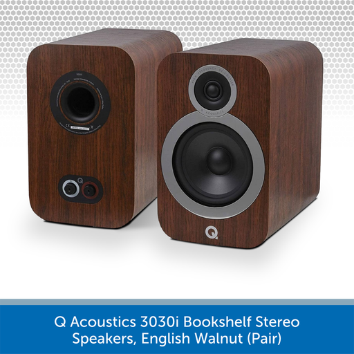 Q Acoustics 3030i Bookshelf Stereo Speakers, English Walnut (Pair)